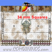 34 mm Norse Snow Plastic Gaming Mat with Parallel Dugouts - Comixininos