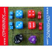 Set of 14 Dice: 4d6, 1d8, 1d16 and 8 Mini-d6
