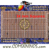 34 mm Pirate Plastic Gaming Mat with Crossed Dugouts - Comixininos