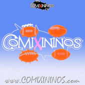 Set of 4 Fantasy Footballs Fluorescent Orange Tokens - Comixininos
