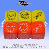 Set of 6 Meiko Block Dice - Yellow and Orange