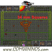 34 mm Ratmen Plastic Gaming Mat with Crossed Dugouts - Comixininos