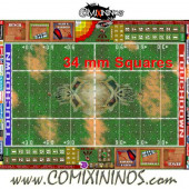 34 mm Skulls Plastic Gaming Mat with Crossed Dugouts - Comixininos