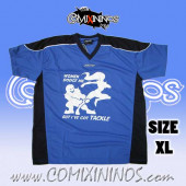 Deluxe T-Shirt - Women dodge me / Blue with Black Strips - Size XL