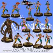 Wood Elves - Forest Elf Team of 13 Players with Treeman - SP Miniaturas