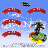 Set of 4 Deep Red -1 AG Puzzle Skills for 32 mm Bases - Comixininos