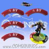 Set of 4 Deep Red -1 AV Puzzle Skills for 32 mm Bases - Comixininos
