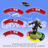 Set of 4 Deep Red -1 MA Puzzle Skills for 32 mm Bases - Comixininos