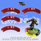 Set of 4 Deep Red -1 ST Puzzle Skills for 32 mm GW Bases - Comixininos