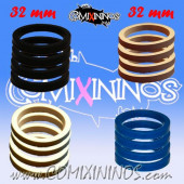 Skill Markers - Set of 16 Multi Color Rubber Deluxe Rings for 32 mm Bases / Blue Included - Comixininos