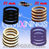 Skill Markers - Set of 16 Multi Color Rubber Deluxe Rings for 32 mm Bases / Purple Included - Comixininos