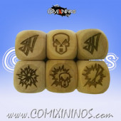 Set of 3 Dark Elf  Block Dice Standard Size 16 mm - Wooden