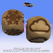 Set of 2 Meiko Weather Dice Large Size 20 mm - Wooden