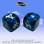 Set of 2d6 Ratmen Dice nº 1 Blue - Akaro