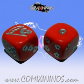 Set of 2d6 Undead Dice Opaque Red - Akaro
