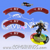 Set of 4 Deep Red +1 AV Puzzle Skills for 32 mm Bases - Comixininos