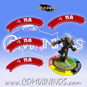 Set of 4 Deep Red +1 MA Puzzle Skills for 32 mm Bases - Comixininos