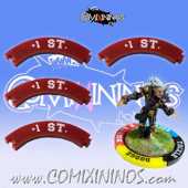 Set of 4 Deep Red +1 ST Puzzle Skills for 32 mm Bases - Comixininos