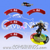 Set of 4 Deep Red +1 AG Puzzle Skills for 32 mm Bases - Comixininos