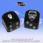 Set of 2d6 Black Necromantic Dice - Akaro