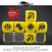 Set of 3 Pirate Block Dice Mod06 Yellow - Akaro