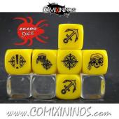 Set of 3 Pirate Block Dice Mod06 Yellow - Akaro