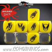 Set of 3 Wolf Superhero Block Dice Mod07 Yellow - Akaro
