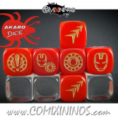 Set of 3 Iron Superhero Block Dice Mod09 Red - Akaro