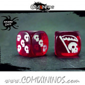 Set of 2d6 Undead Dice Translucent Red - Akaro