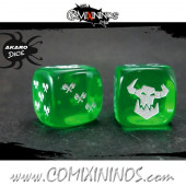 Set of 2d6 Orc Dice Translucent Green - Akaro