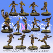Amazons - Amazon Team of 13 Players with Female Ogre - SP Miniaturas