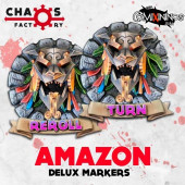 Set of 2 Delux Amazon Reroll and Turn Counters - Chaos Factory