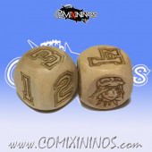 Set of 2d6 Amazon Numbers Dice - Wooden