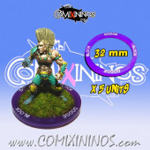 Block and Dodge - Set of 5 Double Skill Rings for 32 mm Bases - Comixininos