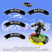 Set of 4 Black Block Puzzle Skills for 32 mm Bases - Comixininos