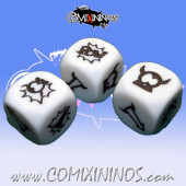 Set of 3 White Cartoon Block Dice - Akaro