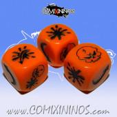 Set of 3 Orange Demon Block Dice Mod04 -  Akaro