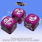 Set of 3 Akaro Block Dice Mod 5 - Purple