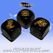 Set of 3 Black Pirate Block Dice - Akaro