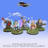 Evil Dwarves - Set of 5 Coaching Staff Miniatures Old But Gold - Labmasu
