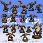 Orcs - Complete Resin Brutos Orc Team of 16 Players with Troll - Rolljordan