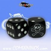 Set of 2d6 Skull Dice - Black