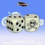 Set of 2d6 Skull Dice - White