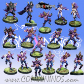 Dark Elves - Complete Vicious Corsairs Dark Elf Team of 16 Players - Meiko Miniatures