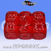 Set of 3 Meiko Block Dice - Translucent Red