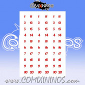 Number Decal Template nº 2 - Red
