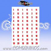 Number Decal Template nº 4 - Red