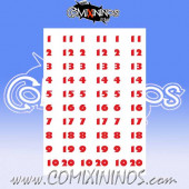Number Decal Template nº 5 - Red