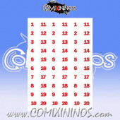 Number Decal Template nº 6 - Red