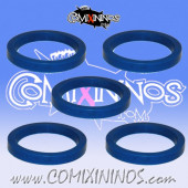 Skill Markers - Set of 5 Blue Rubber Deluxe Rings for 25 mm Bases - Comixininos